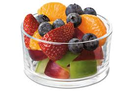 A small fruit cup works well for breakfast. But remember to eat slowly, small bites, and take your time.